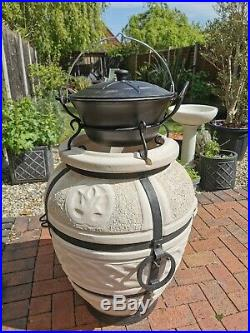 Cast Iron Cauldron with Stand for Tandoor Oven