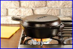 Cast Iron Cooker 3-Qt Pre-Seasoned Combo Pan Skillet Dutch Oven Cookware Lodge