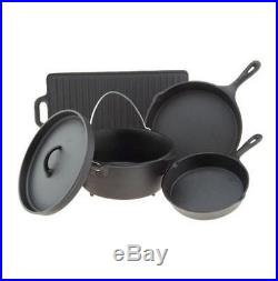 Cast Iron Cookware Set 5 Piece Pots Skillets Dutch Oven Griddle Home Camping NEW