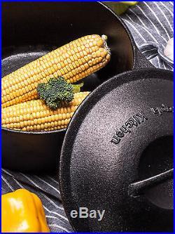 Cast Iron Dutch Oven Pre-Seasoned 5-Quart Pot Lid Cookware Kitchen Camp Utopia