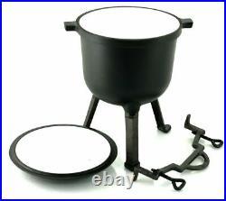 Cast Iron Enamel Dutch Oven Stew Pot Outdoor Cooking Campfire Open Fire 8L! UK