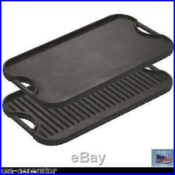 Cast Iron Griddle Lodge Reversible Stove Grill Skillet Vintage Style Grilling