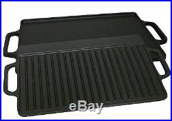 Cast Iron Grill Griddle Skillet Burner Pan Cook Steak BBQ Burger Stovetop Square