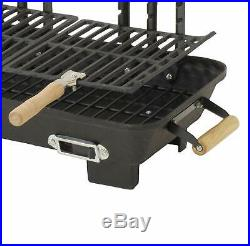 Cast Iron Hibachi Charcoal Grill Portable RV Camping Beach BBQ Cook Tailgating