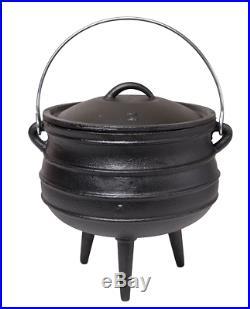 Cast Iron Potje Non-Stick Pot Cauldron Cookware with Lid & Handle 6.34 Quart