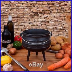 Cast Iron Potje in Wooden Box for Outdoor Fireplace Setting Pre Seasoned Non &