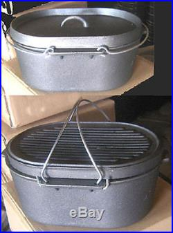 Cast iron Oval Roaster Self-basting lid Dutch Oven10qt Cookware Camp Pot