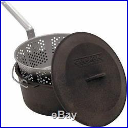 Cast iron pot deep fryer basket lid outdoor cook steam boil camp 7.5 qt oven