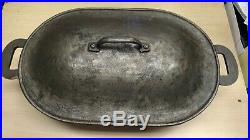 Columbus Iron Works Vintage Made in USA Cast Iron Legged Roasting Pan with Lid