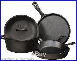 Combo Cooker Cast Iron Pre Seasoned Dutch Oven Skillet Pan Griddle Pot Fryer Set