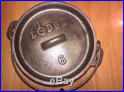 DISCONTINUED LODGE No 6 Cast Iron Camp Oven 1 QUART Chuckwagon
