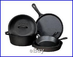 Dutch Oven Cast Iron Skillet Cookware Set 5 Piece Pots and Pans fry set New