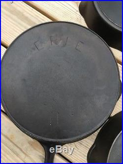 ERIE Pre-Griswold Cast Iron Skillet Lot Of 5 6,7,8,9, 11 c1895-1910 Series RARE