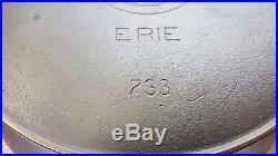 EXTRA DEEP Griswold # 9 Slant ERIE Cast Iron Skillet Vtg Erie Cleaned Heat Ring