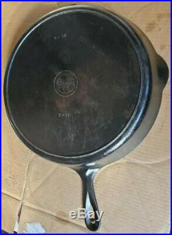 Early Erie Griswold No. 12 719 D Skillet Cast Iron Fry Pan Heat Ring