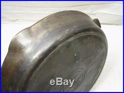 Early Erie Griswold No. 12 719 Skillet Cast Iron Fry Pan Heat Ring Frying