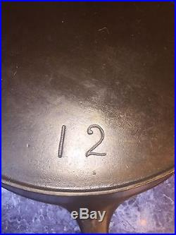 Early Wagner Arched Logo #12 Cast Iron Skillet. LARGE! Cleaned And Seasoned