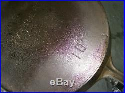 Early Wagner Sidney O #10 Cast Iron Skillet Straight Logo/Heat Ring/Clean