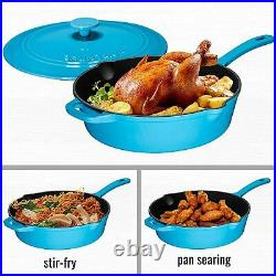 Enameled 12 Inch Cast Iron Skillet Deep Saute Pan Frying Pan with Lid Turquoise
