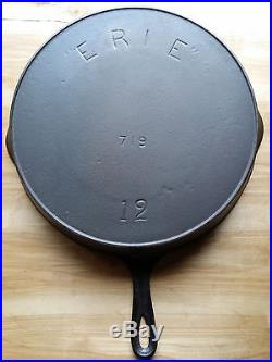 Erie Pre Griswold #12 Cast Iron Skillet 3rd Series 1892-1905 Cleaned & Seasoned