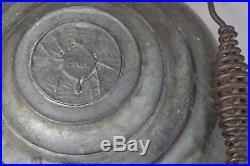 Erie spider tea kettle # 8 cast iron original pre griswold antique rare