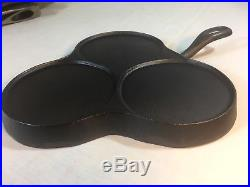 Extremely Rare HTF Axford Clover Leaf Cast Iron Pancake Griddle Cleaned Seasoned