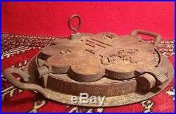 F CROWN antique heart waffle maker cast iron pan grill norway vtg kitchen stove