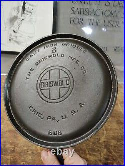 FULLY RESTORED! GRISWOLD #8 LARGE BLOCK LOGO 10 CAST IRON Griddle Flat