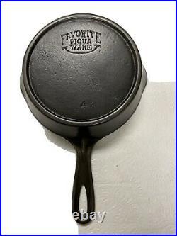 Favorite Piqua Ware Smiley Cast Iron Skillet #4 Circa 1916-1935 (htf)