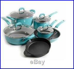 Food Network Cookware Pioneer Woman Pots and Pans Set Nonstick Cast Iron Skillet