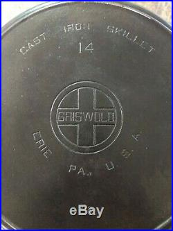 Fully Restored Griswold #14 Large Block Logo 16 Cast Iron Skillet