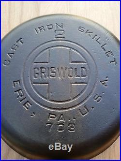 Fully Restored Griswold #2 Cast Iron Skillet Large Block Logo Smooth Bottom