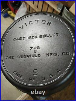 Fully Restored Victor Griswold #9 Cast Iron Skillet Fully Marked Logo 11 Nice