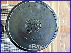 GRISWOLD #12 CAST IRON SKILLET with LID