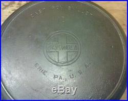 GRISWOLD #13 SLANT ERIE CAST IRON SKILLET #720 SMOKE HEAT RING Rare VGC