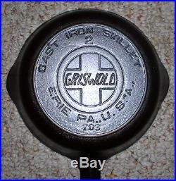 GRISWOLD #2 Large Block Slant Logo Heat Ring skillet #703 (HTF) Cast Iron