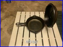 GRISWOLD #5 HINGED SKILLET #2505 & HINGED LID #2595 Great Condition