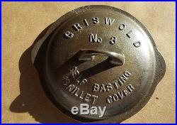 GRISWOLD CAST IRON No. 3 LOW DOME FULL WRITING SKILLET LID COVER raised letter