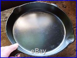 GRISWOLD Cast Iron SKILLET Frying Pan # 14 LARGE BLOCK LOGO Heat Ring RESTORED