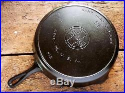 GRISWOLD Cast Iron SKILLET Frying Pan RESTORED # 12 LARGE BLOCK LOGO EXCELLENT