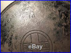 GRISWOLD Cast Iron Skillet #14 WITH Lid Cover 474 Very Level with Fire Ring