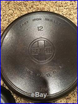 GRISWOLD Cast Iron skillet Griddle Lot Of 3 #5 #12 Skillets Large Block Logo 719