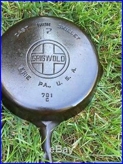 GRISWOLD Cast Iron skillet Lot 5 Skillets Large Block Logo 719 3 5 7 8 12 LBL