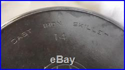 GRISWOLD, No. 14, 218 B, Block Logo, Cast Iron Skillet with Heat Ring FREE SHIP