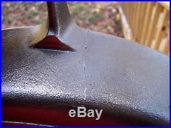 GRISWOLD No. 20 Cast Iron Skillet Large Block Logo Erie PA p/n 728 CRACKED