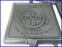 GRISWOLD SQUARE WAFFLE IRON No. 11 HIGH BASE #'S 363,364,987 COLLECTOR QUALITY