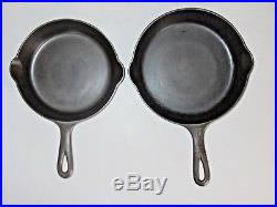 GRISWOLD VINTAGE SKILLET SET with MATCHING SMALL LOGO & EARLY HANDLE (Ex. Cond.)
