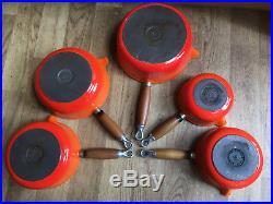 Genuine Le Creuset Orange Pan Set Cast Iron Saucepans With Wooden Display Rack