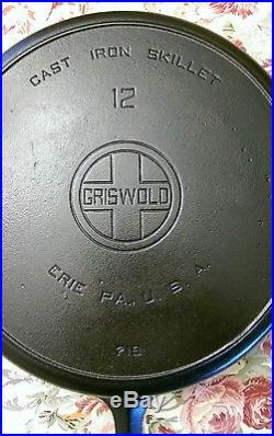Gorgeous Griswold #12 Skillet LBL P/N #719 with Lid #472 (ghost mark)