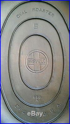 Gorgeous Griswold #9 Oval Roaster Block Logo P/N #649 with Trivet